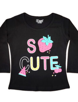 E Teenz So Cute Strawberry Design Cotton Blend Round Or Crew Neck Full Sleeves Slim Fit Top for Kids Girls (1 Pc) (Copy)