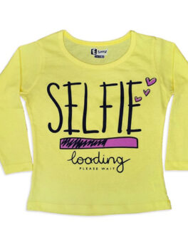 E Teenz Selfie Design Cotton Blend Round Or Crew Neck Full Sleeves Slim Fit Top for Kids Girls (1 Pc)