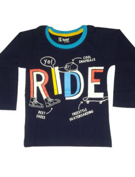 E Teenz Ride Design Cotton Blend Round Or Crew Neck Full Sleeves Slim Fit Top for Kids Boys (1 Pc)
