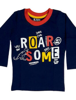 E Teenz Roar Some Design Cotton Blend Round Or Crew Neck Full Sleeves Slim Fit Top for Kids Boys (1 Pc)