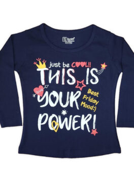 E Teenz Heart Design Cotton Blend Round Or Crew Neck Full Sleeves Slim Fit Top for Kids Girls (1 Pc)