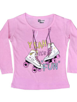 E Teenz Yeah Fun Design Cotton Blend Round Or Crew Neck Full Sleeves Slim Fit Top for Kids Girls (1 Pc)
