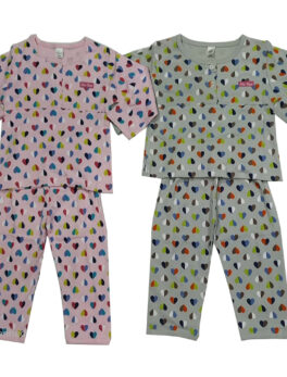 Brats and Dolls Heart Design Shirt and Pajama Set For Kids